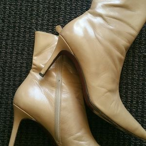 Calf Skin Leather Beige Ankle Boots